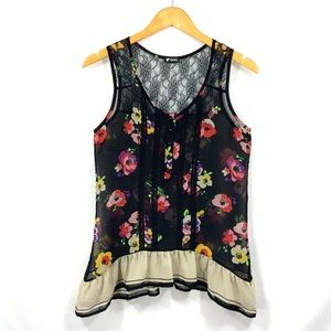 LILY WHITE Sheer Polyester & Lace Tank Top G5